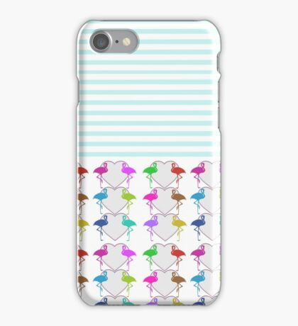 Vintage teal stripes hearts neon flamingo iPhone Case/Skin