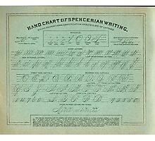Hand Chart of Spencerian Writing   Photographic Print