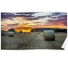 Hay bale sunset Poster