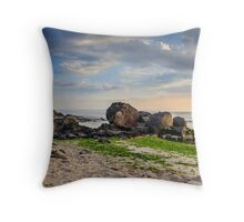 rocks and seaweed on sand coast of the sea Throw Pillow