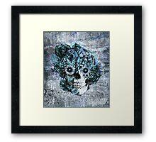 Blue grunge ohm skull.  Framed Print