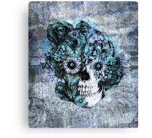 Blue grunge ohm skull.  Canvas Print