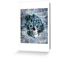 Blue grunge ohm skull.  Greeting Card