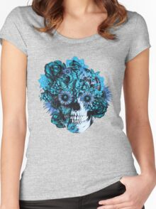 Blue grunge ohm skull.  Women's Fitted Scoop T-Shirt