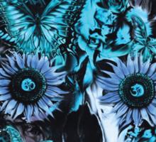 Blue grunge ohm skull.  Sticker