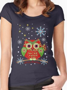 Cute Christmas Owl and Text Tee Women's Fitted Scoop T-Shirt