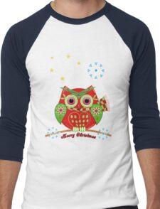 Cute Christmas Owl and Text Tee Men's Baseball ¾ T-Shirt