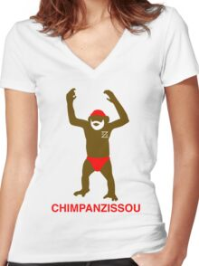 CHIMPANZISSOU Women's Fitted V-Neck T-Shirt
