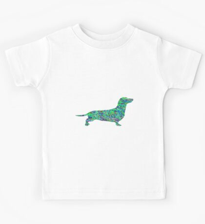 Pyschedelic Sausage Dog- Green Kids Tee
