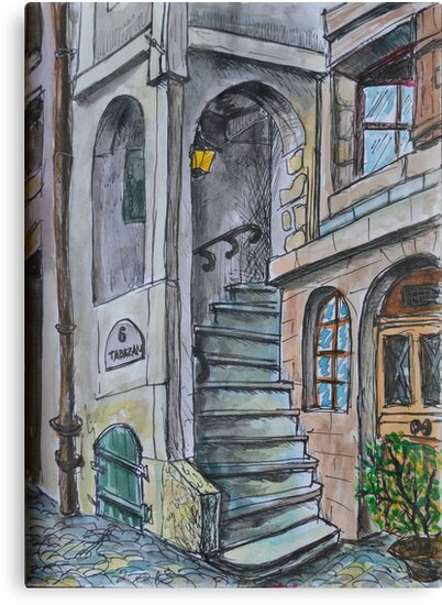Watercolor Sketch - Genève, Rue Tabazan, 6 by Igor Pozdnyakov