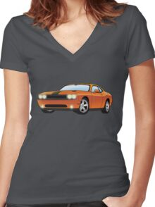 The orange dodge challenger Women's Fitted V-Neck T-Shirt