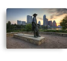 Texas Images - Stevie Ray Vaughan Statue and the Austin Skyline at Sunrise Canvas Print