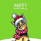 Yorkie Scarf Happy Howl-i-days by offleashart
