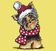 Yorkie Happy Winter Hat & Scarf One Piece - Short Sleeve