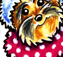 Yorkie Happy Winter Hat & Scarf Sticker