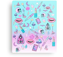 Girly Pastel Witch Goth Pattern Metal Print