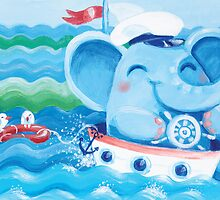 Sailor - Rondy the Elephant on a boat by oksancia