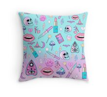 Girly Pastel Witch Goth Pattern Throw Pillow