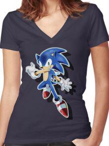 Blue Blur Women's Fitted V-Neck T-Shirt