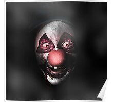 Dark evil clown face with scary joker smile Poster