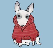 English Bull Terrier Wearing Red Chunky Knit One Piece - Short Sleeve