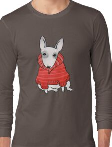 English Bull Terrier Wearing Red Chunky Knit Long Sleeve T-Shirt