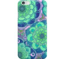 Fantasy Flowers in Mint Green & Purple iPhone Case/Skin