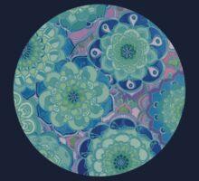 Fantasy Flowers in Mint Green & Purple One Piece - Short Sleeve