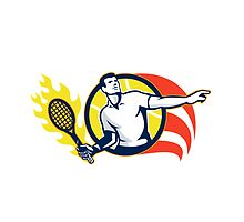 Tennis Player Flaming Racquet Ball Retro by patrimonio