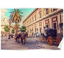 Noon at Cathedral Square. Seville Poster
