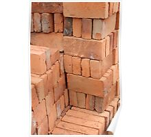 Rows of Adobe Bricks Drying in the Sun Poster