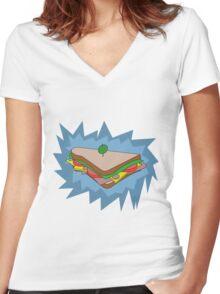 BLU Sandvich Women's Fitted V-Neck T-Shirt