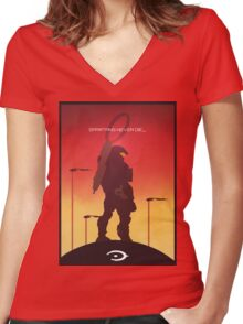 Spartan's Never Die - Halo Women's Fitted V-Neck T-Shirt