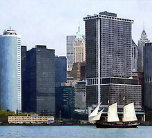 Boats - Schooner Against the Manhattan Skyline by Susan Savad