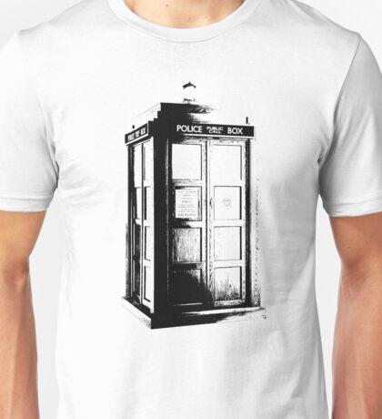 Black and White Tardis Unisex T-Shirt