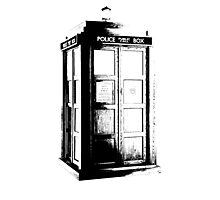 Black and White Tardis Photographic Print