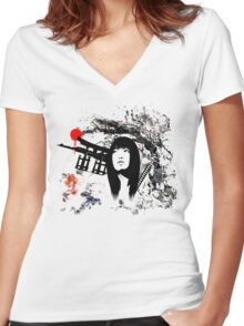 Japanese Geisha Warrior Women's Fitted V-Neck T-Shirt