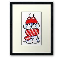 Maltese Happy Red Plaid Scarf Framed Print