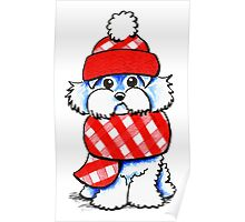 Maltese Happy Red Plaid Scarf Poster