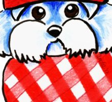Maltese Happy Red Plaid Scarf Sticker