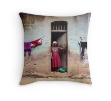 Woman In Front Of The House Throw Pillow