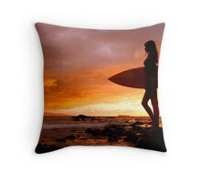 Silhouette Of Surfer Girl Throw Pillow