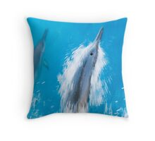 Spinner Dolphins Gliding through Hawaiian Waters Throw Pillow
