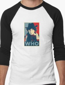 Doctor Who Tom Baker Barack Obama Hope style poster Men's Baseball ¾ T-Shirt
