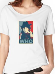 Doctor Who Tom Baker Barack Obama Hope style poster Women's Relaxed Fit T-Shirt
