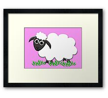 White Wooly Lamb with Pink Framed Print