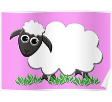 White Wooly Lamb with Pink Poster