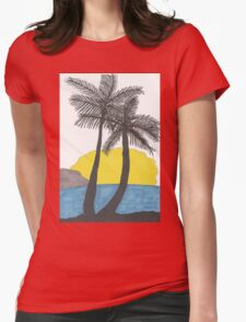 Palm Trees at Sunrise Womens Fitted T-Shirt