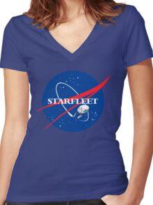 STARFLEET / NASA Women's Fitted V-Neck T-Shirt