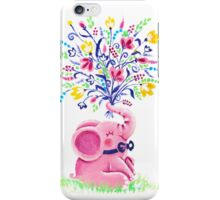 Spring Bouquet - Rondy the Elephant holding beautiful flowers iPhone Case/Skin